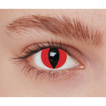 Lentilles chat rouge Halloween