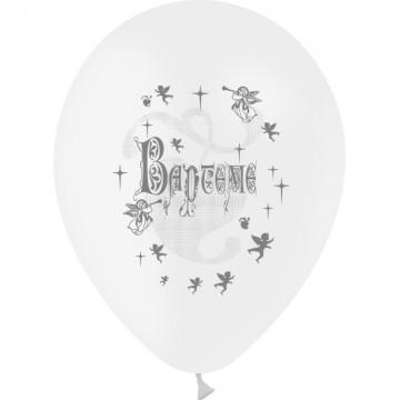 Lot de 10 ballons de baudruche en latex blancs Baptême D 25/29 cm