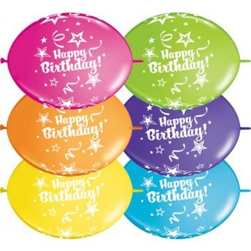 Lot de 50 Ballons double attache Happy Birthday 30 cm