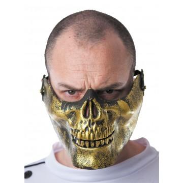 Masque demi-face tête de mort dorée