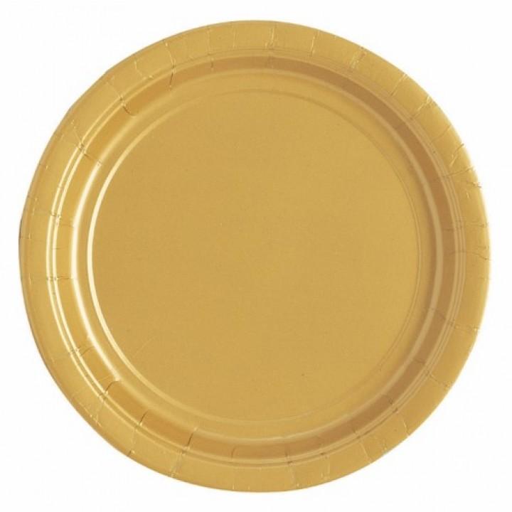 Lot de 10 assiettes rondes en carton or 18 cm