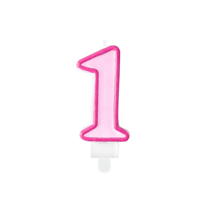 Bougie anniversaire Chiffre 1 rose 7 cm