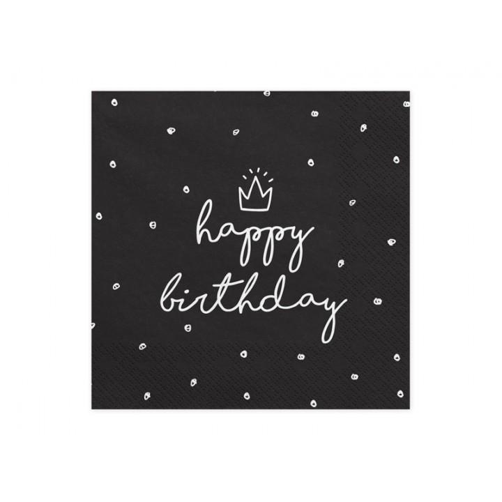 Lot de 20 serviettes en papier noir Happy Birthday 33 x 33 cm