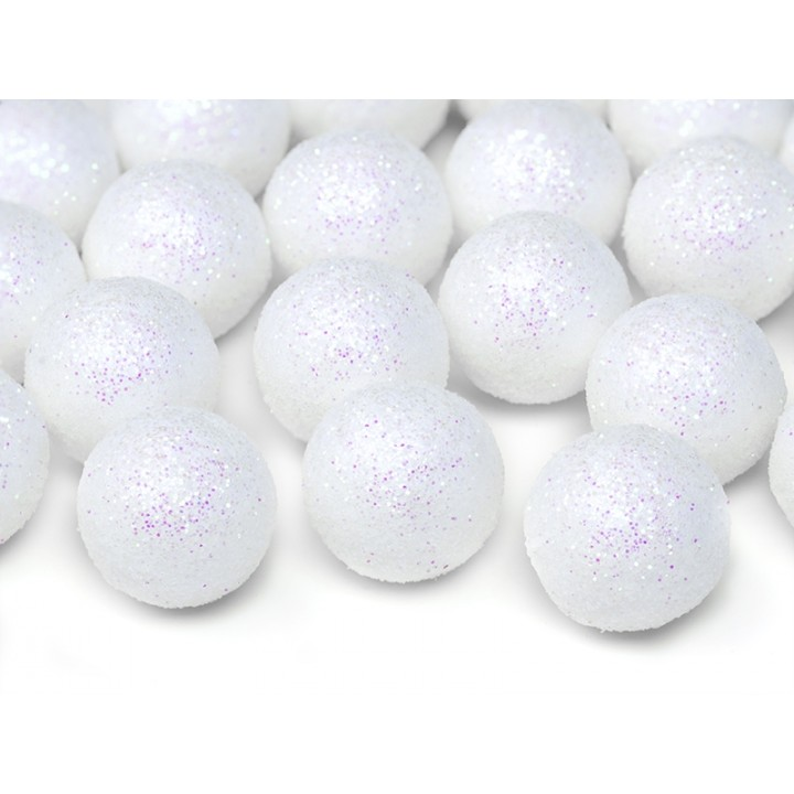 Lot de 25 boules Noël blanches pailletées