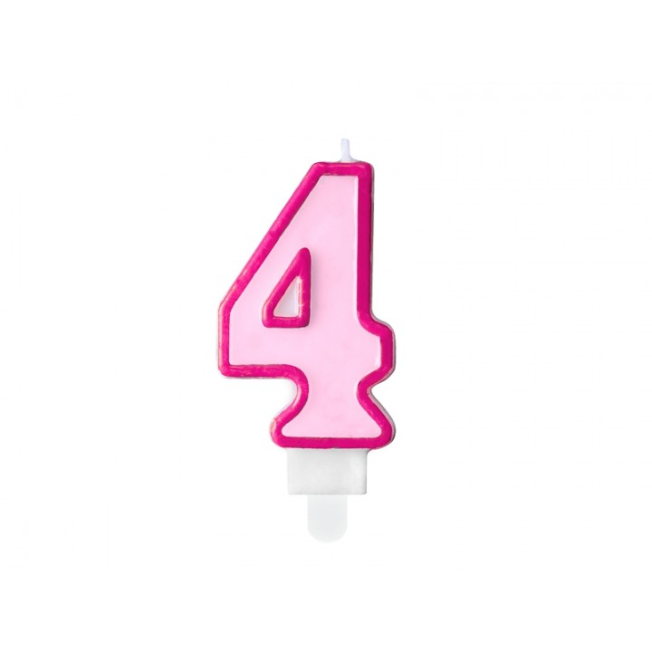 Bougie anniversaire Chiffre 4 rose 7 cm