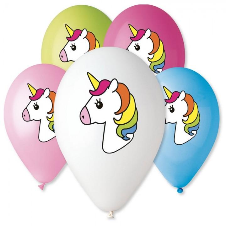 Lot de 5 ballons Licorne multicolore en latex 30 cm