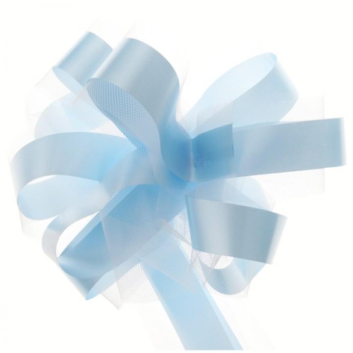 5 nœuds à tirer tulle pompon bleu ciel