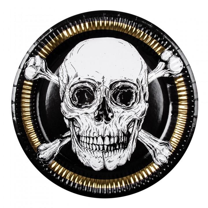 Lot de 6 assiettes anniversaire pirate carton 23 cm