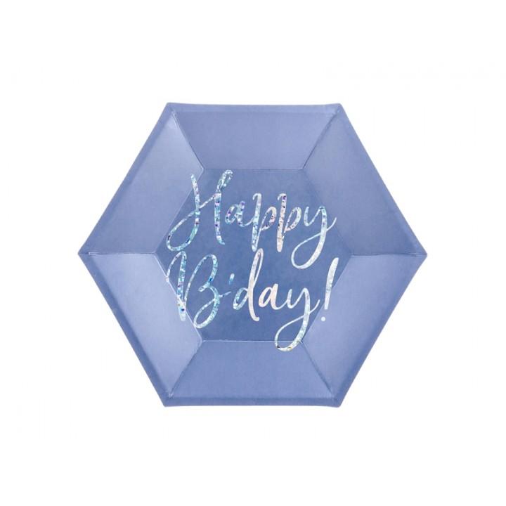 Lot de 6 assiettes carton bleu Happy Birthday iridescent 20 cm