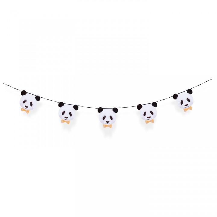 Guirlande panda 5 fanions 15 x 15 cm- 2,10m