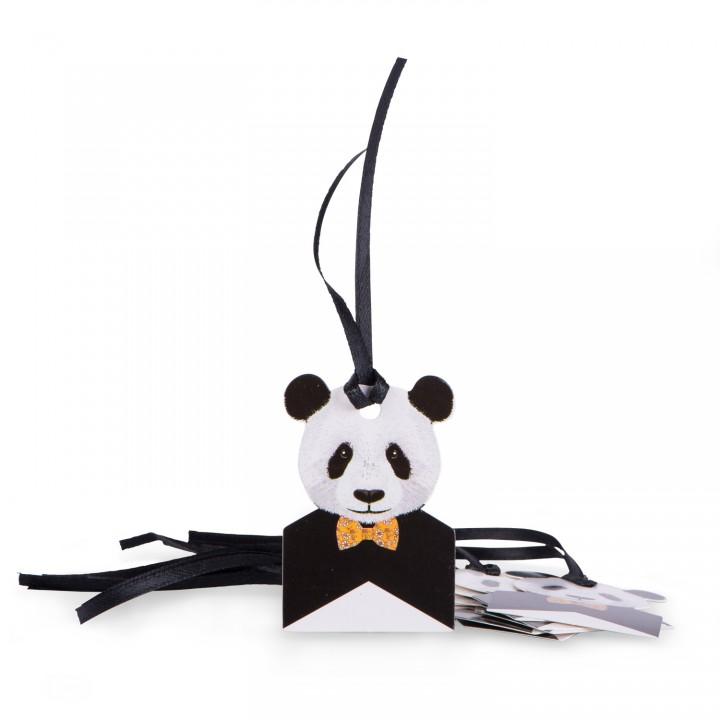 Lot de 8 étiquettes Panda avec lien satin noir 6 x 4 cm
