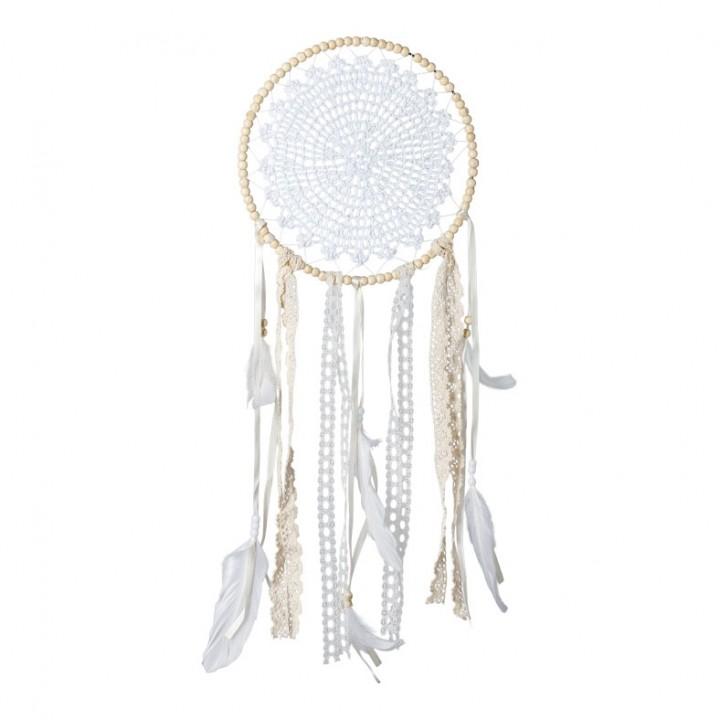 Attrape-rêves dentelle +perles ivoire/blanches 33 x 50 cm
