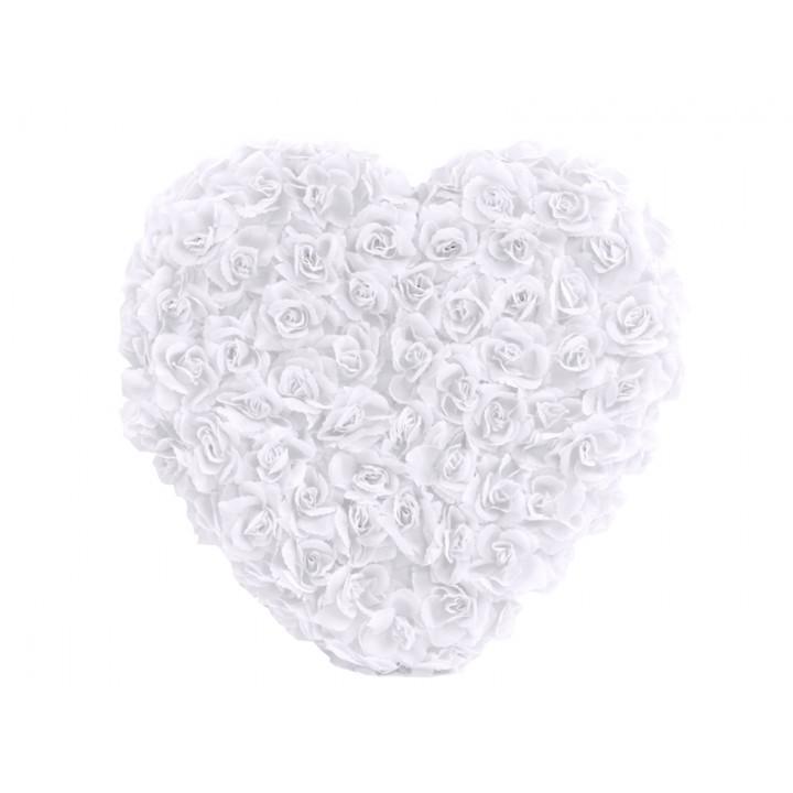Cœur de fleurs blanches blanches 50 cm