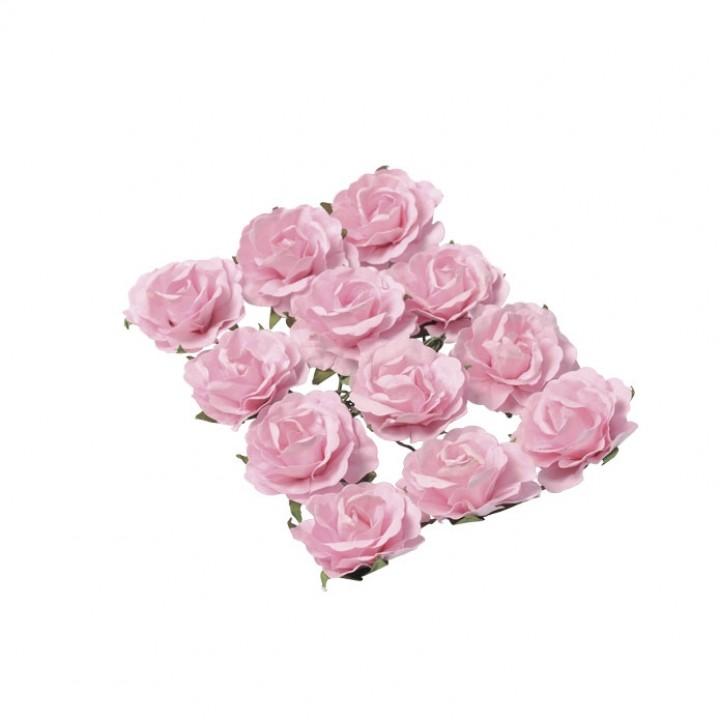 Lot de 12 Roses roses sur tige 3,5 cm