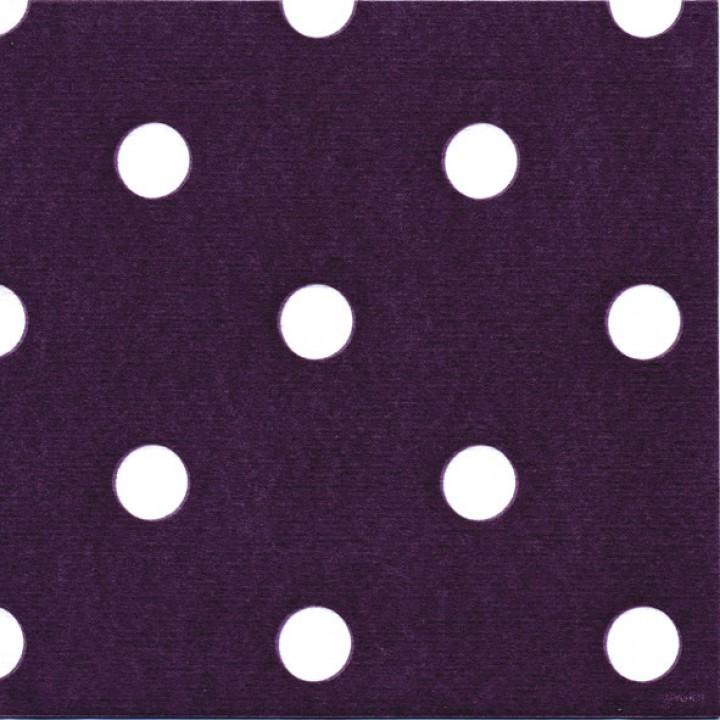 Lot de 20 serviettes intissé prune à pois 40 x 40 cm