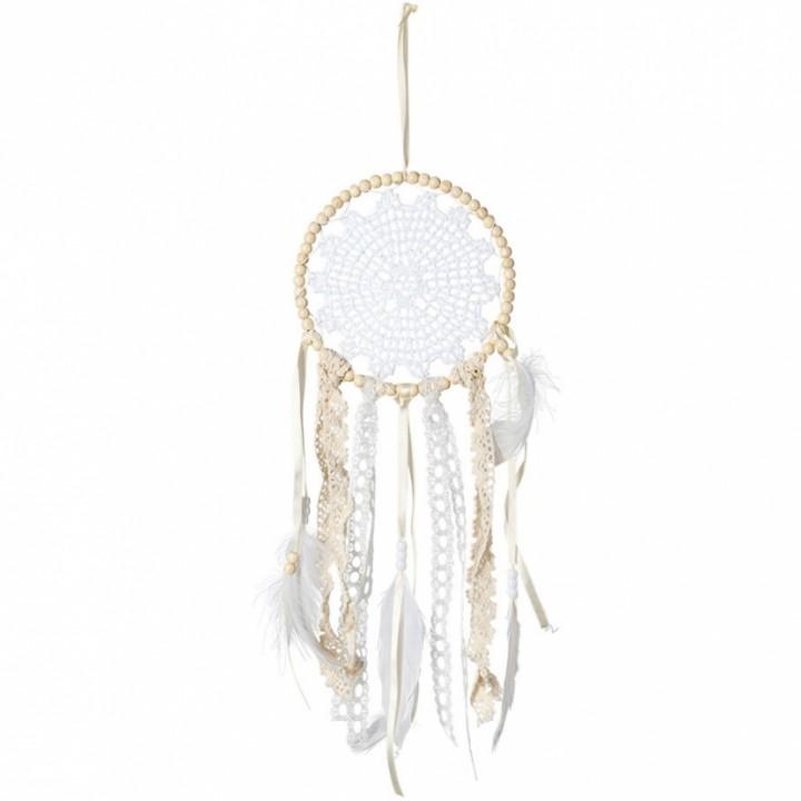 Attrape-rêves dentelle +perles ivoire/blanches 15x45 cm
