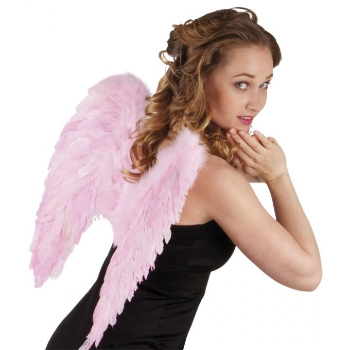 Ailes d'ange rose pâle pastel pour adulte taille 50 cm