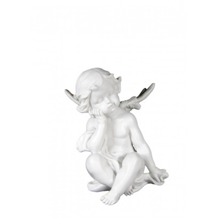 Ange assis en résine 16 cm