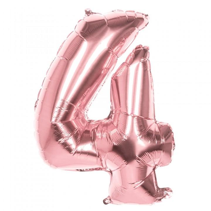 Ballon Chiffre 4 rose gold 86 cm