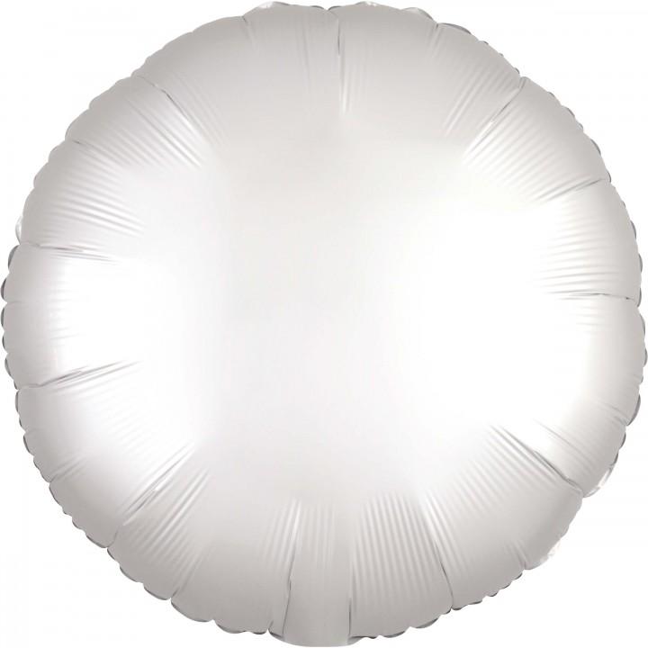 Ballon rond satin luxe blanc 43 cm