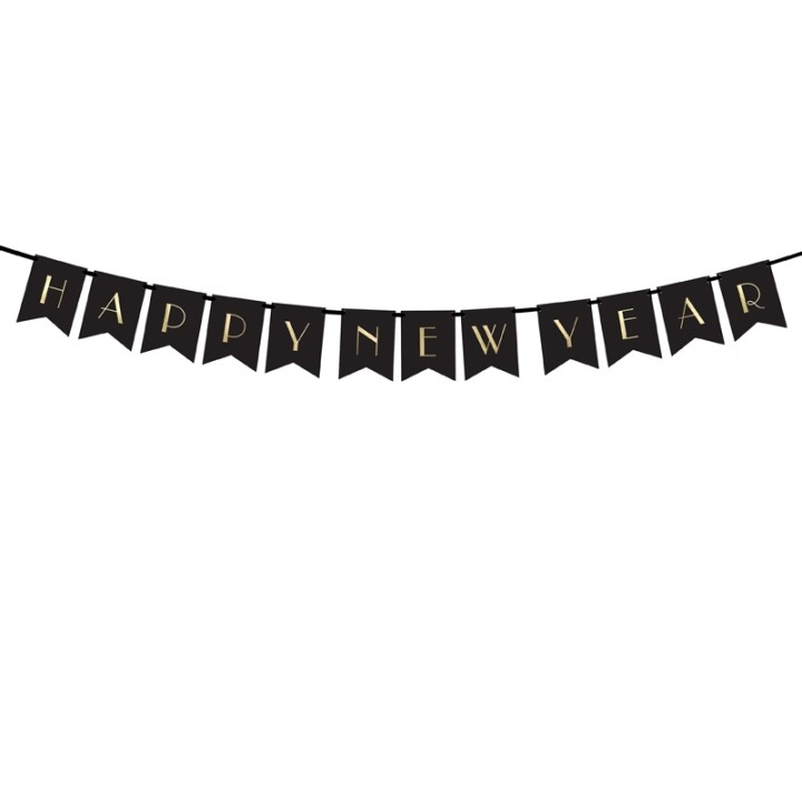 Bannière Happy New Year noire 15 cm x 1,70 m