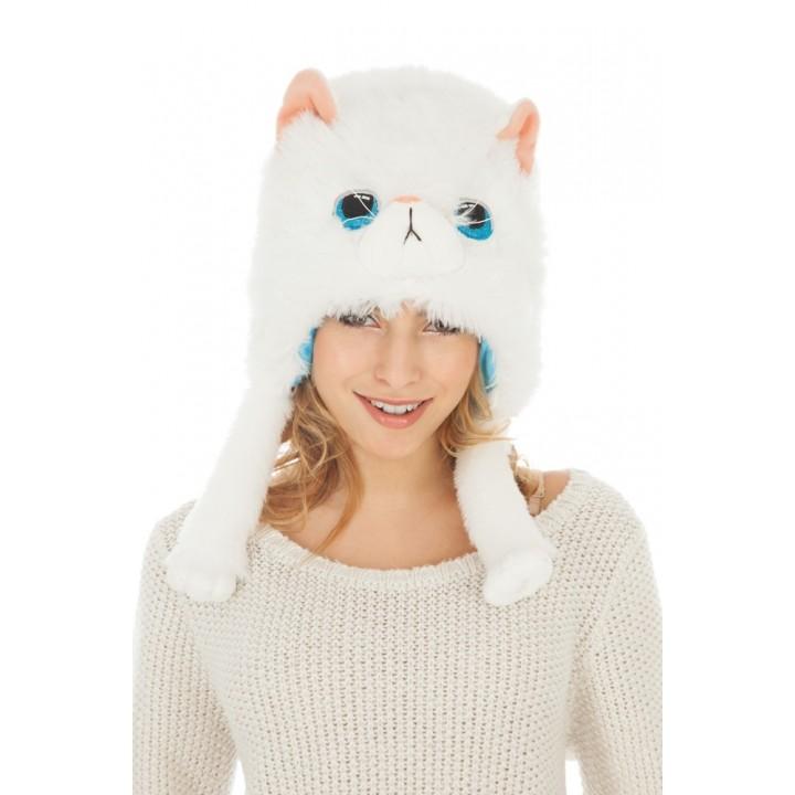 Bonnet Chat Blanc en peluche