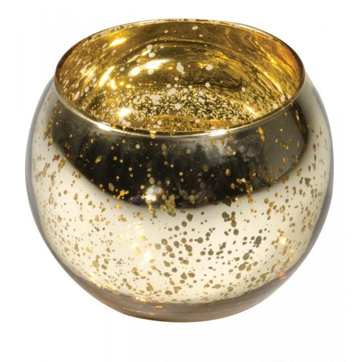 Bougeoir boule or métal en verre 10 x 8 cm