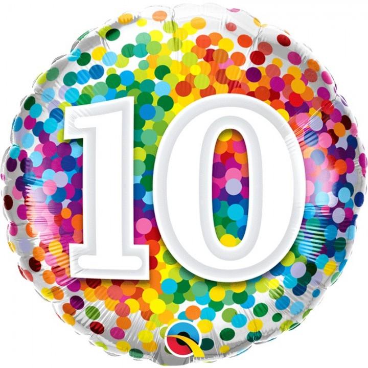 Ballon 10 ans pois multicolores 45 cm