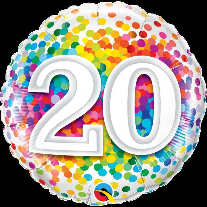 20 Ans Anniversaire Png.Ballon Anniversaire 20 Ans Rainbow Confetti 45 Cm