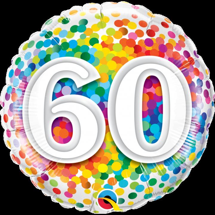 Image Pour Anniversaire 60 Ans.Ballon Anniversaire 60 Ans Rainbow Confetti 45 Cm