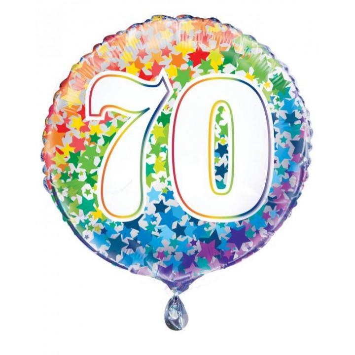 Ballon Anniversaire 70 ans rayures multicolores