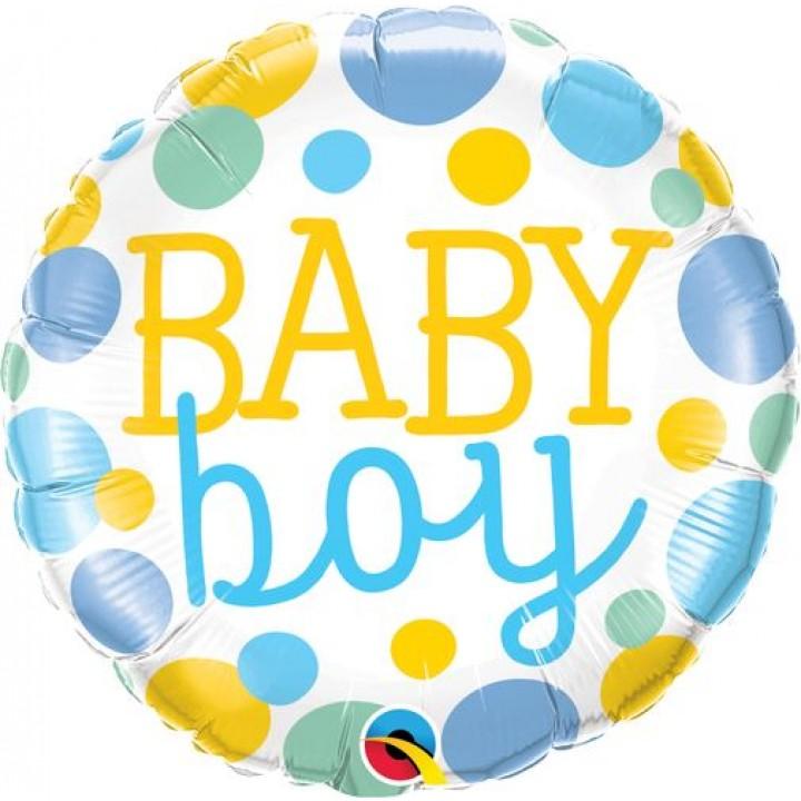 Ballon baby boy bleu à pois 45 cm