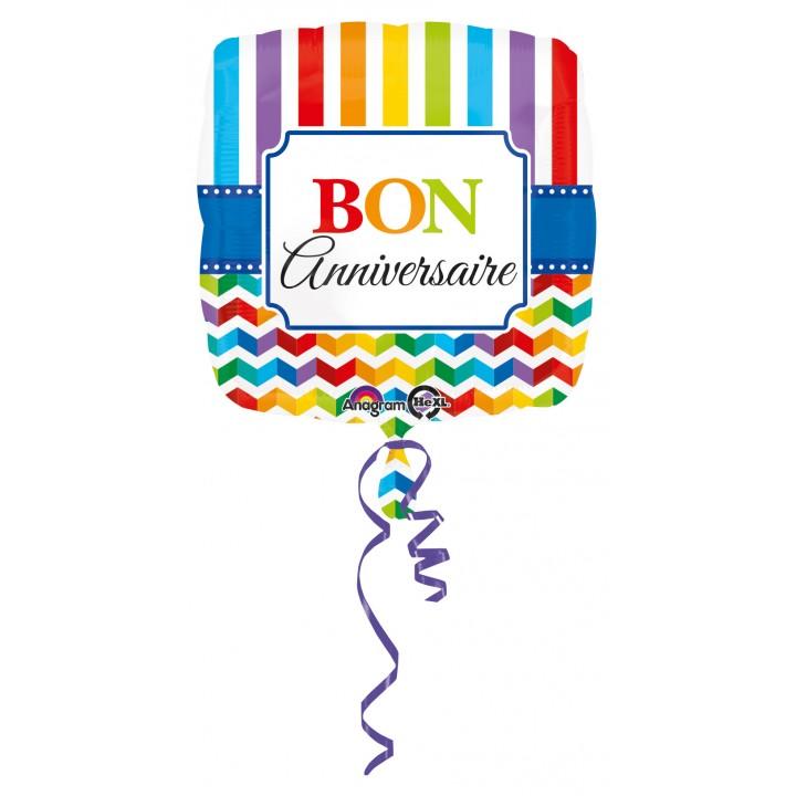 Ballon Bon Anniversaire rayures et chevrons