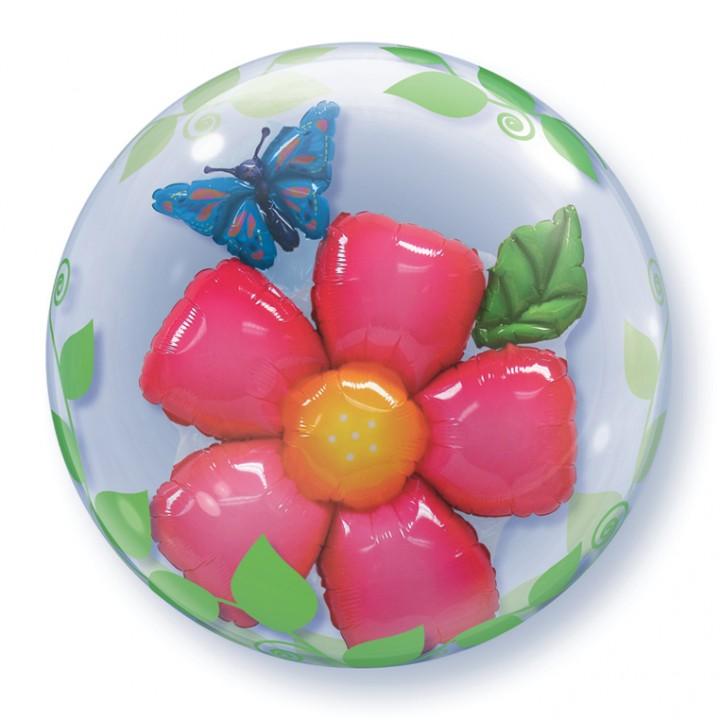 Ballon Bubble double fleur transparent