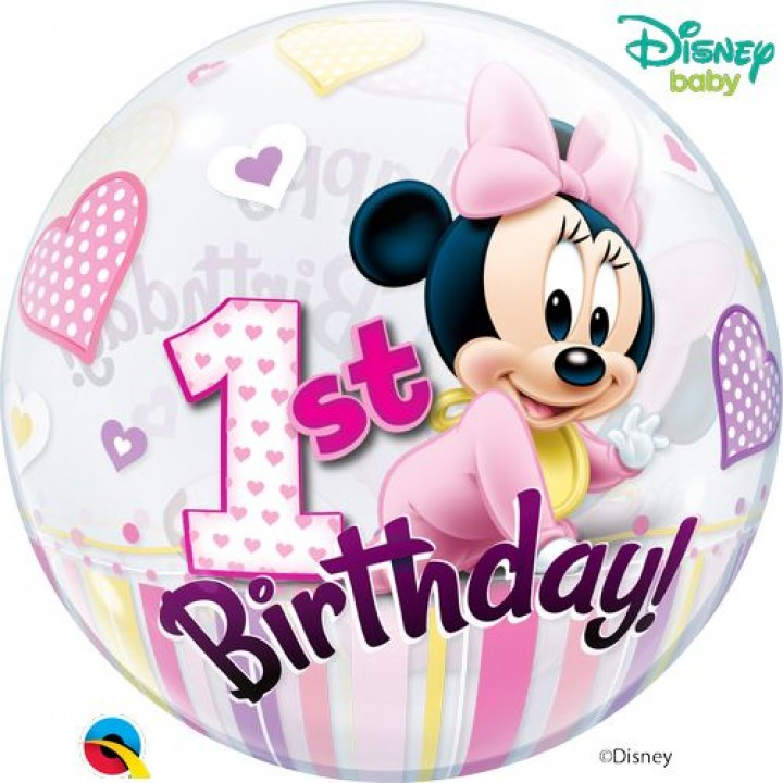 Ballon bubble Minnie 1st Birthday 55 cm