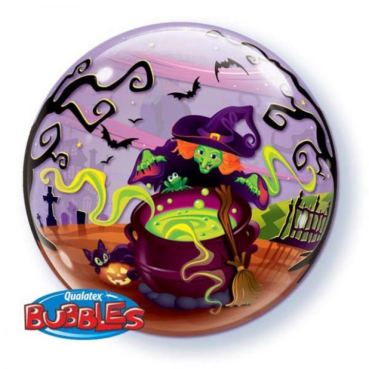 Ballon Bubble Sorcière volante 55 cm