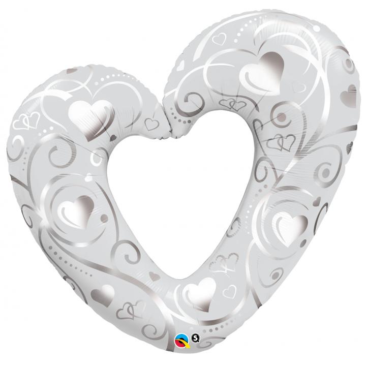Ballon cœurs blanc/argent