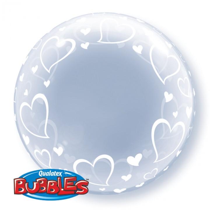 Ballon Cœurs Bubble transparent
