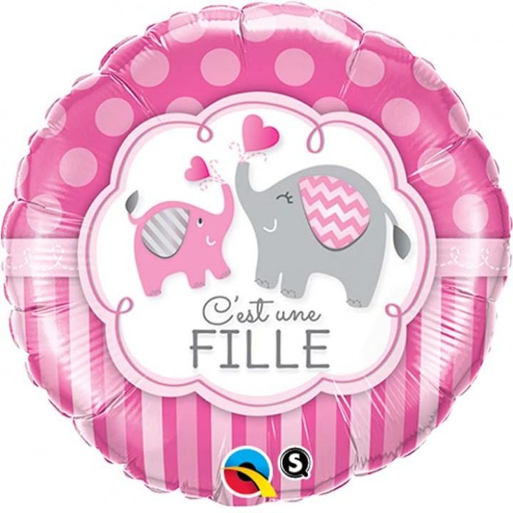Ballon C'est une fille Coeur 45 cm