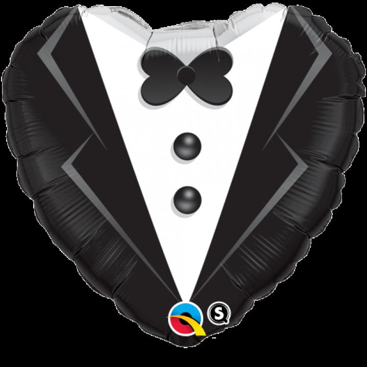 Ballon forme Cœur Costume de Marié 45 cm