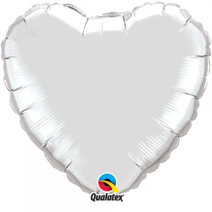 Ballon Forme Cœur en aluminium argent