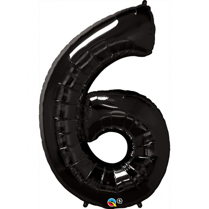 Ballon forme chiffre 6 aluminium noir