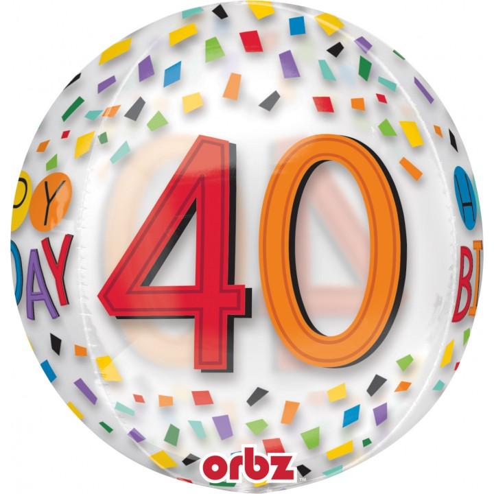 Ballon Happy Birthday 40 Rainbow Clear Orbz 38 x 40 cm