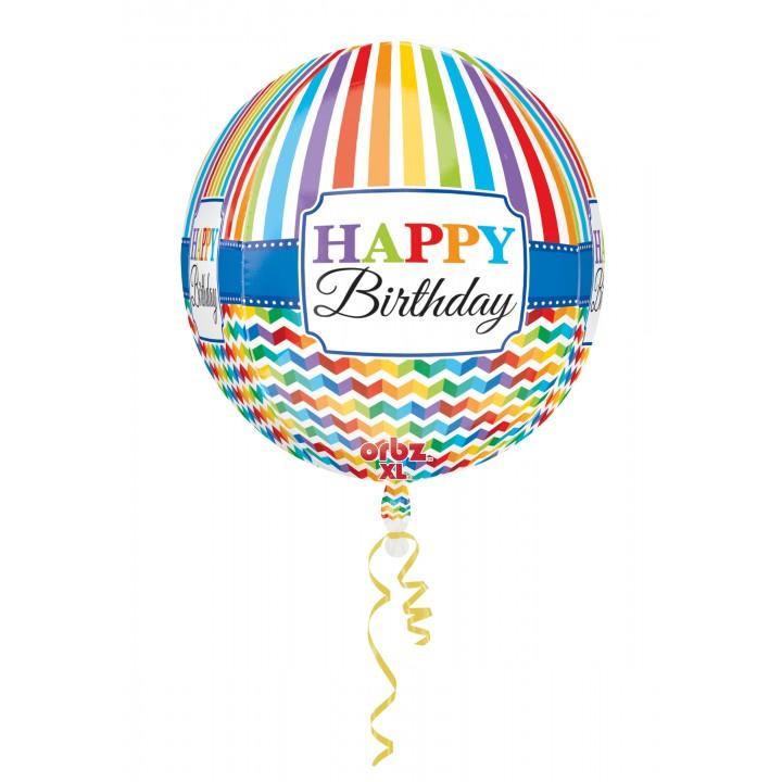 Ballon Happy birthday rayures et chevrons ORBZ 38 x 40 cm