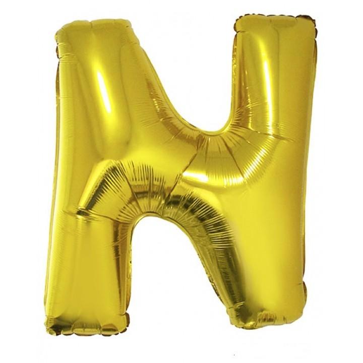 Ballon lettre N aluminium or