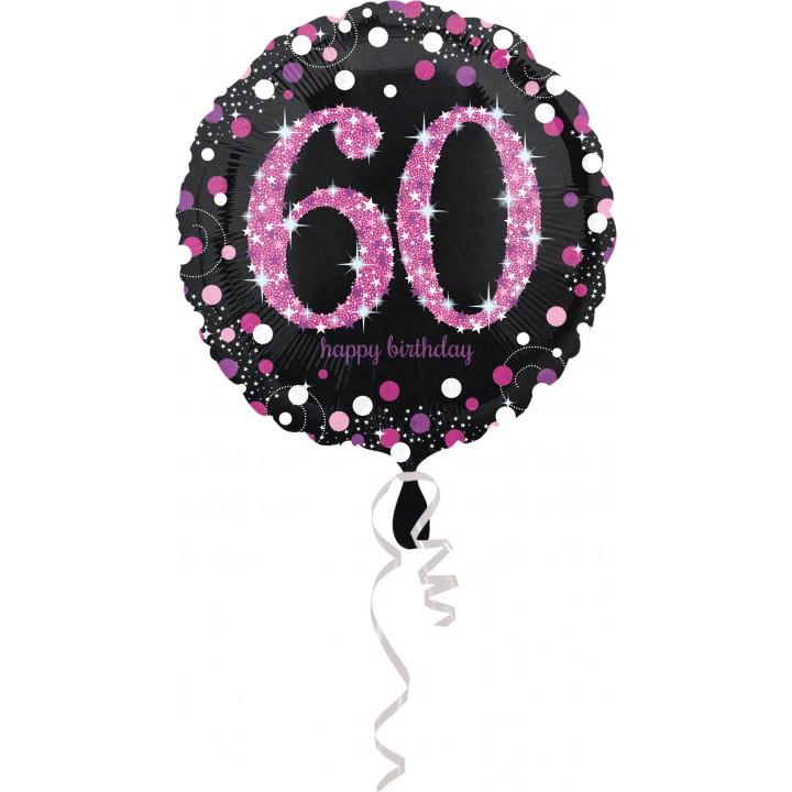 Ballon Sparkling Celebration rose Birthday 60 ans