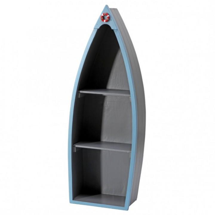 Barque étagère Taupe/ Bleu en bois