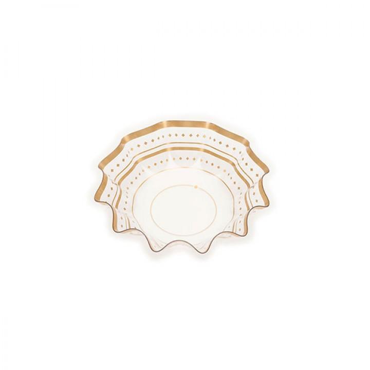 Bol transparent décor doré 16x16X4,5 cm