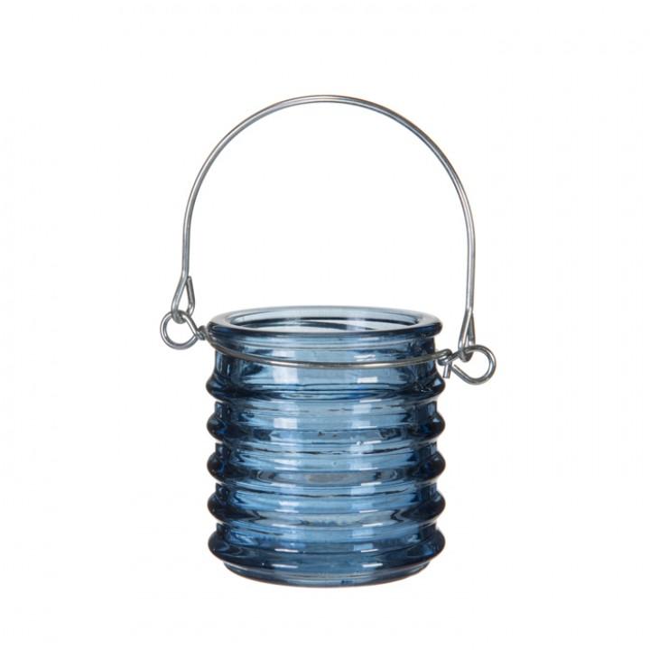 Bougeoir avec anse coloré bleu 6 x 6 cm