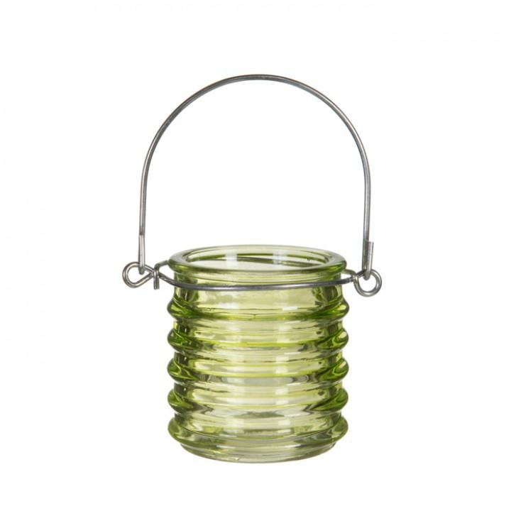 Bougeoir avec anse coloré vert anis 6 x 6 cm